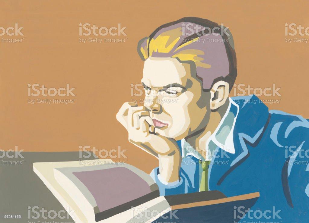 Businessman Reading royalty-free stock vector art