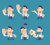 """""""Vector illustration - cartoon businessman, office worker in various poses"""""""