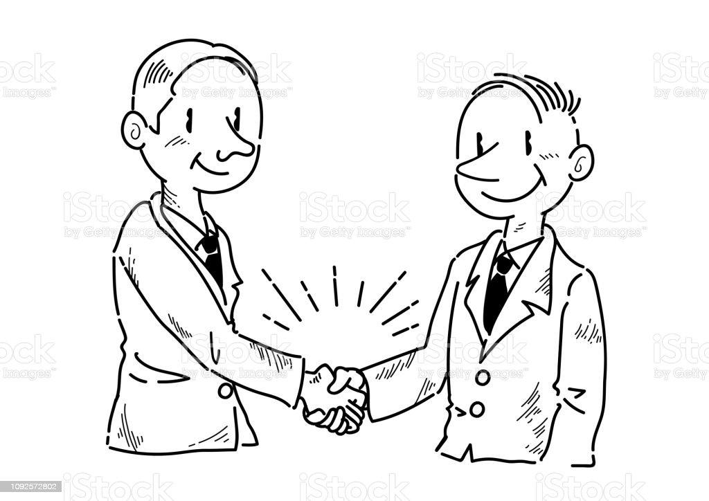 Ilustración De Hombre De Negocios Dando La Mano Dibujo Y Más