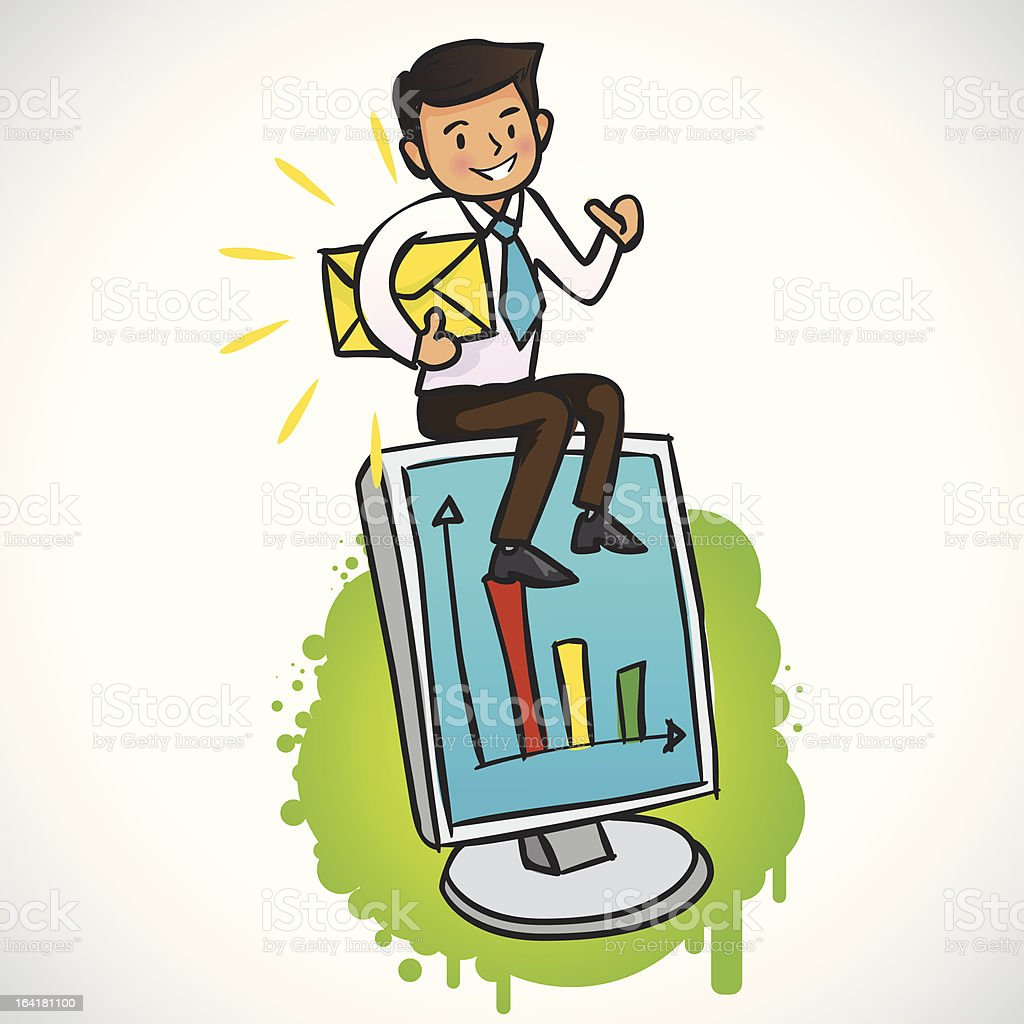 Businessman siting on the computer with Good News royalty-free stock vector art
