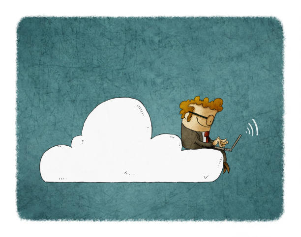 Businessman sits on a cloud with laptop on his knees. illustration of Cloud Networking. vector art illustration