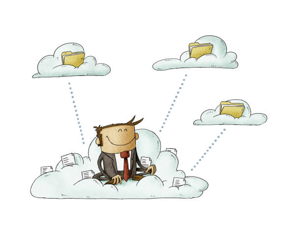 Businessman sitting on a cloud with files is transferring these to other clouds with folders. isolated vector art illustration
