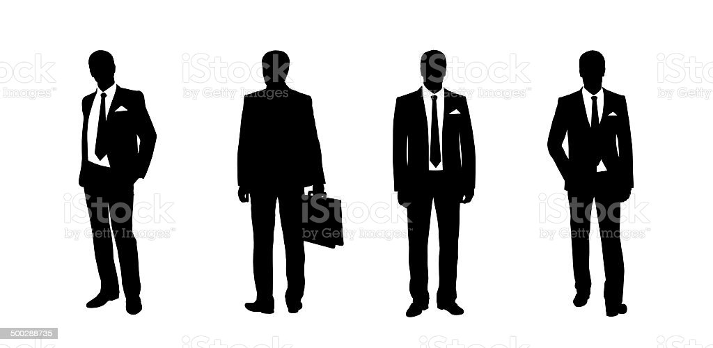 businessman standing silhouettes set 3 vector art illustration