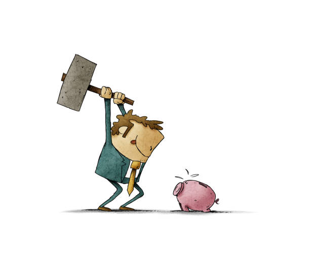 Businessman with a hammer in his hand is going to break a piggy bank and take out the savings. vector art illustration