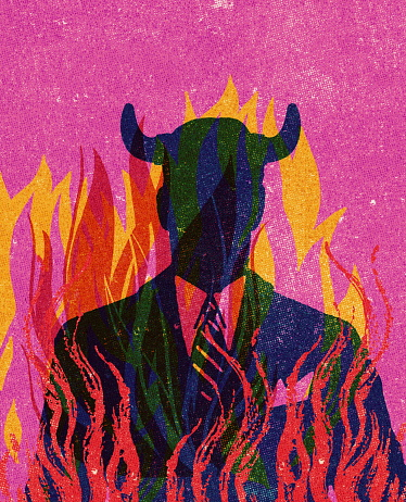 Businessman with Horns in Flames