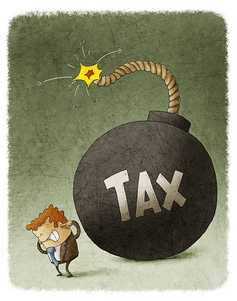 Businessman with Huge Tax Bomb behind Businessman with Huge Tax Bomb behind. explosive fuse stock illustrations