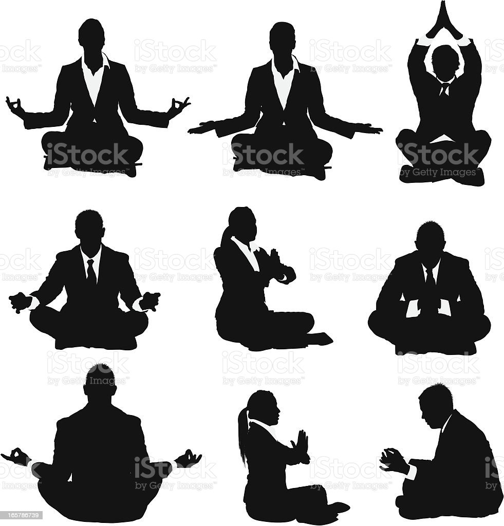 Businessmen and businesswomen meditating royalty-free stock vector art