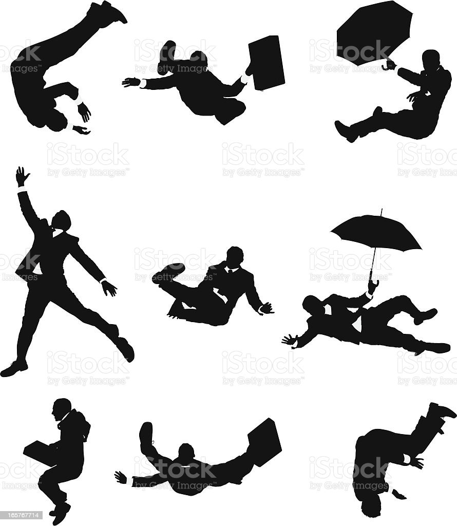 Businessmen falling down vector art illustration