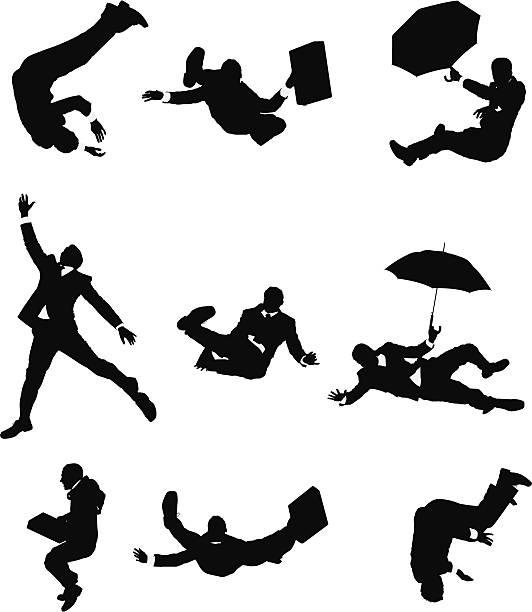 Businessmen falling down vector art illustration