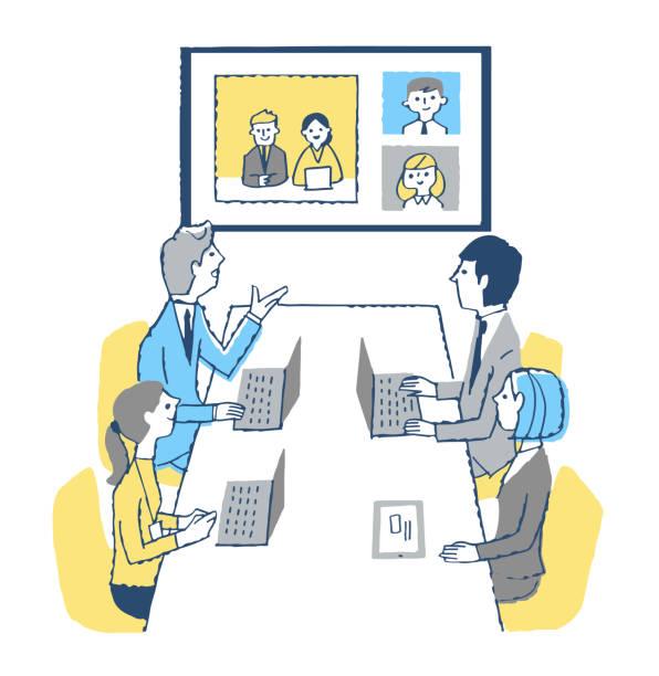 会議室やオンラインで会議を開くビジネスマン - テレビ会議 日本人点のイラスト素材/クリップアート素材/マンガ素材/アイコン素材