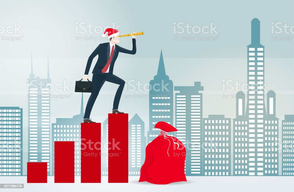 Businessmen in the Santa hat with big red sack of presents in the City looking through the binocular. Christmas in business, concept illustration vector art illustration