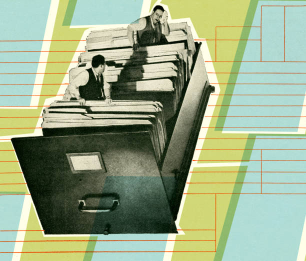 bildbanksillustrationer, clip art samt tecknat material och ikoner med businessmen inside file drawer - byrålåda
