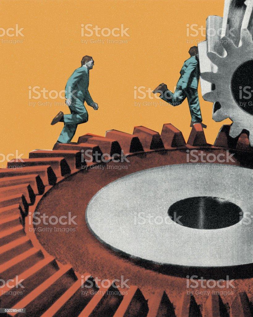 Businessmen Running on a Gear vector art illustration
