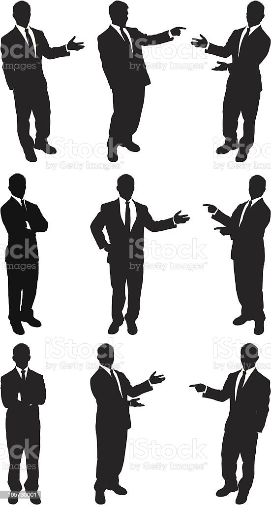 Businessmen standing and presenting vector art illustration
