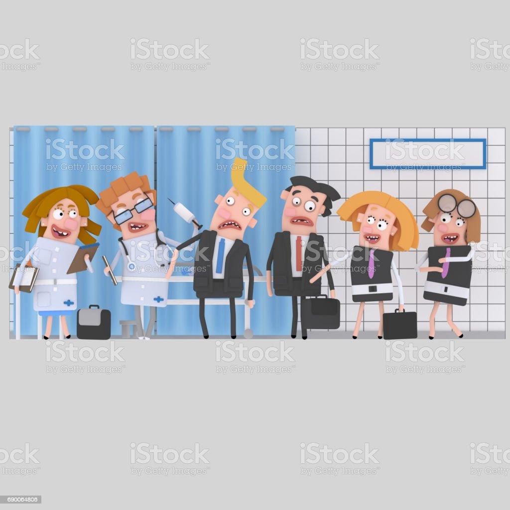 Empresarios en clínica para revisión médica - ilustración de arte vectorial