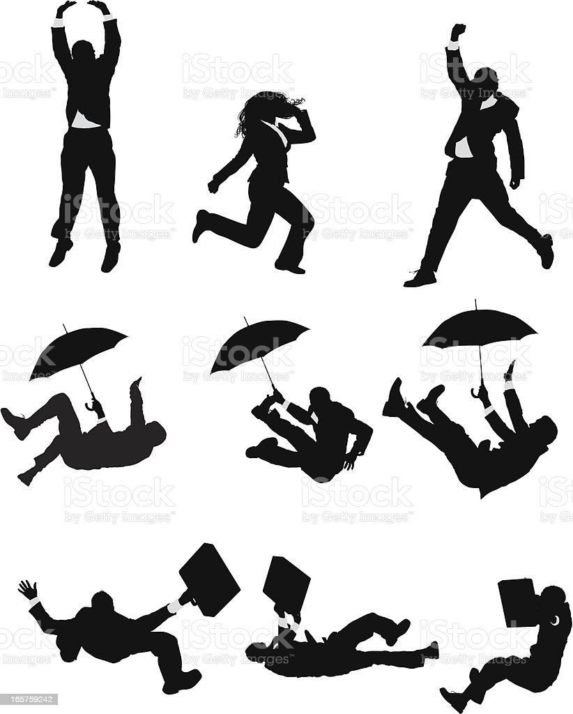Businesspeople jumping and falling vector art illustration
