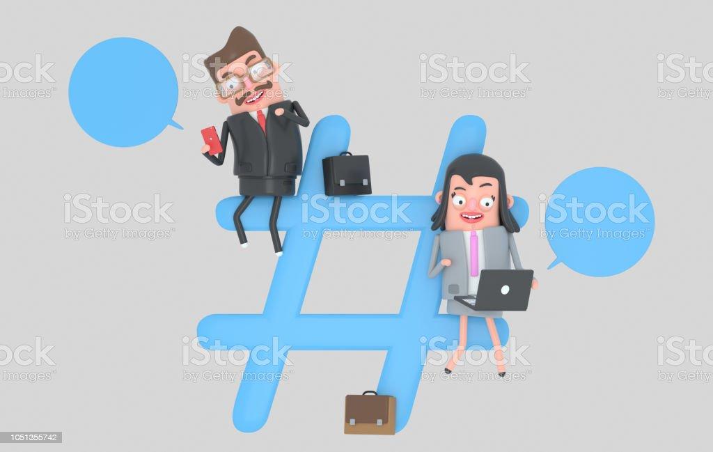 Empresarios sobre el símbolo de hashtag internet - ilustración de arte vectorial