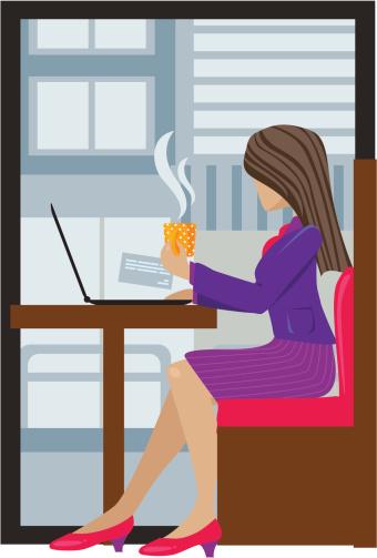 Businesswoman having tea break