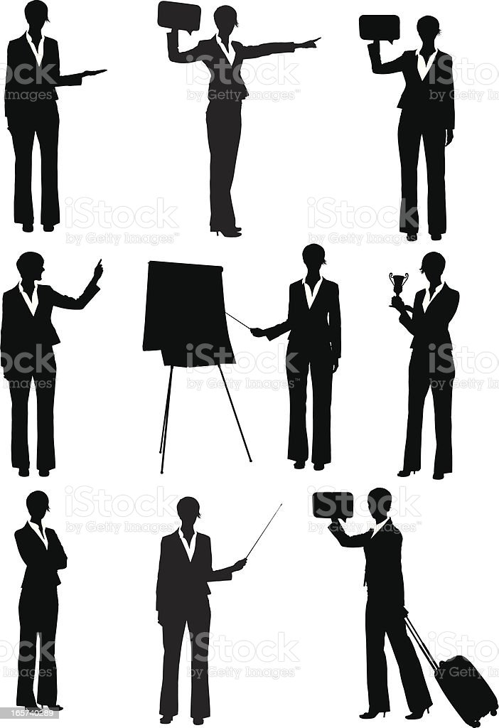 Businesswoman making a business presentation vector art illustration