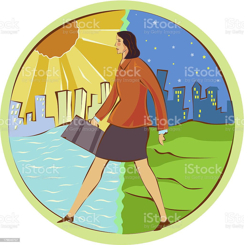 Businesswoman walking from day to night royalty-free stock vector art