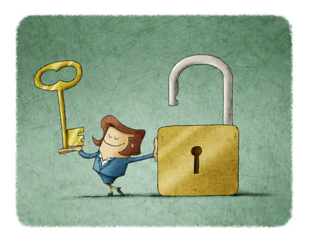 Businesswoman with a key  in a hand and an opend padlock. It is a metaphor to find a solution or a security metaphor. vector art illustration