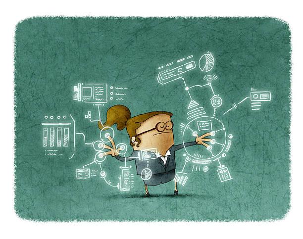 Businesswoman working with future technologies vector art illustration