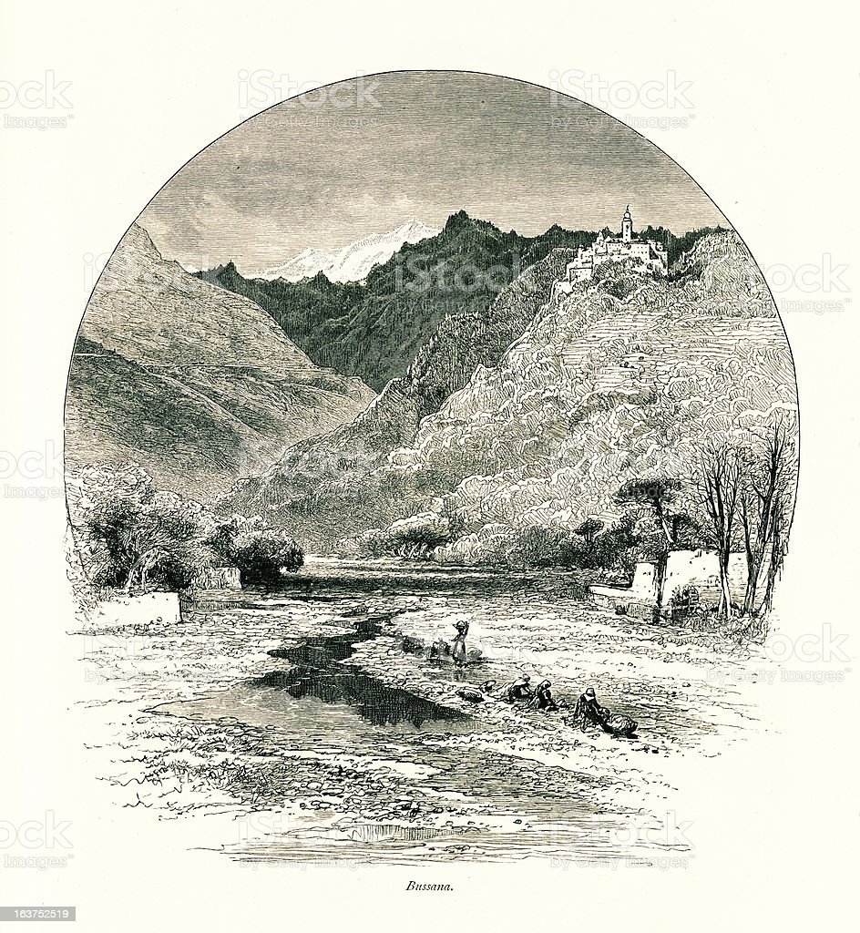 Bussana Vecchia, Italy I Antique European Illustrations vector art illustration