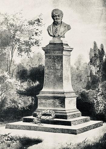 Bust, memorial for Carl von Drais, Inventor of the draisine wheel