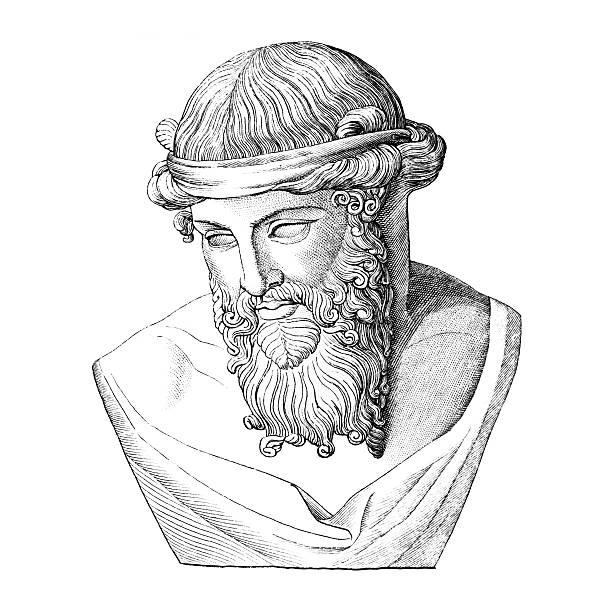 bildbanksillustrationer, clip art samt tecknat material och ikoner med bust of plato, ancient greek philosopher - ancient white background