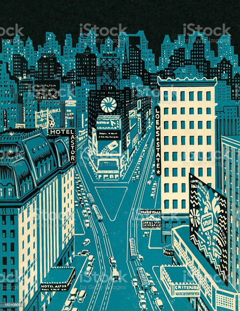 Busy City at Night royalty-free stock vector art