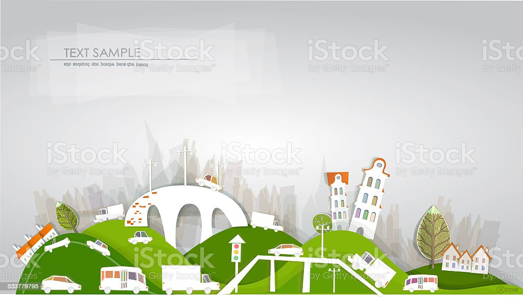 Busy roads, junctions and bridges 'White city' collection vector art illustration