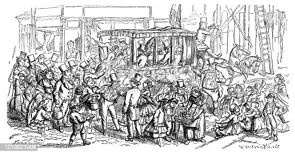"A busy scene in a Victorian city with passengers scrambling aboard a horse-drawn omnibus and street sellers dealing with customers. From ""The Cottager and Artisan, 1873"", published by The Religious Tract Society, London."