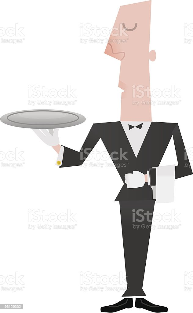 Butler holding empty tray vector art illustration