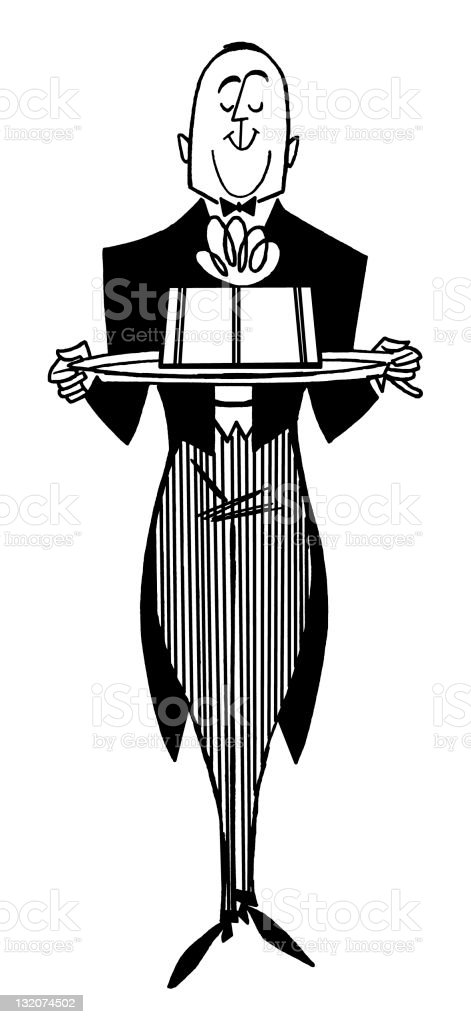 butler holding tray stock illustration
