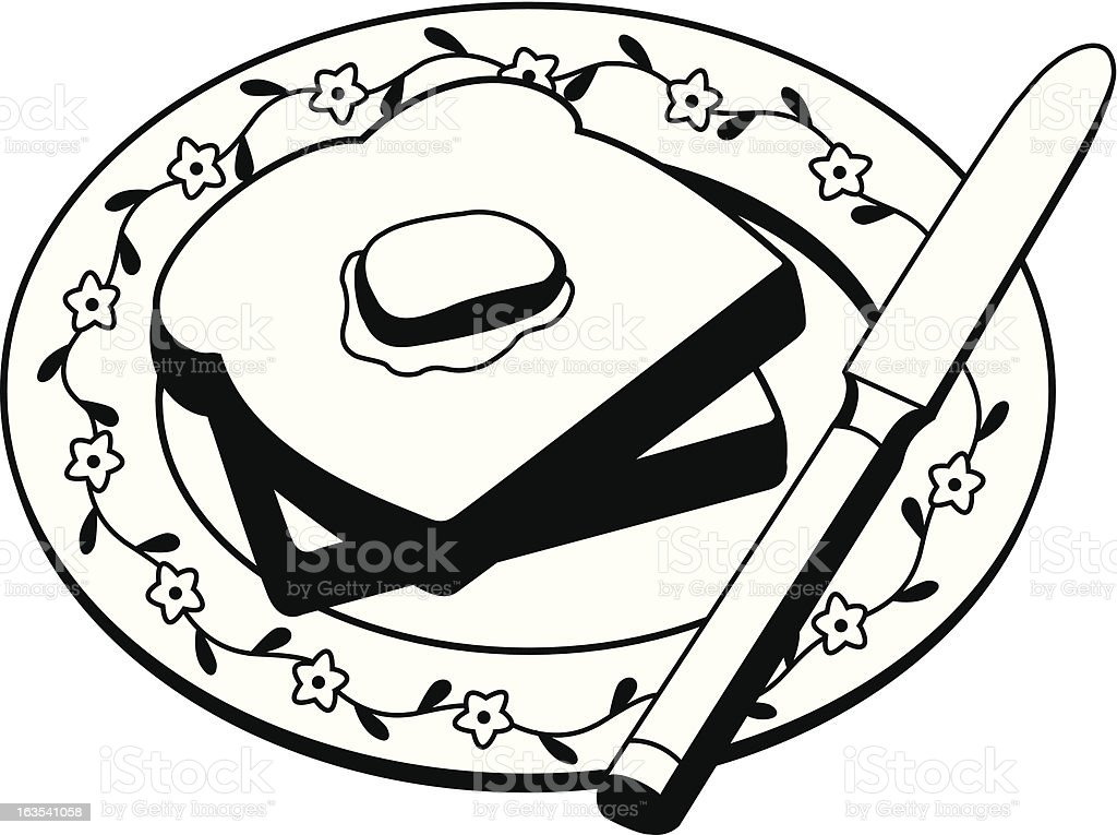 Buttered Toast - Vector Illustration royalty-free stock vector art