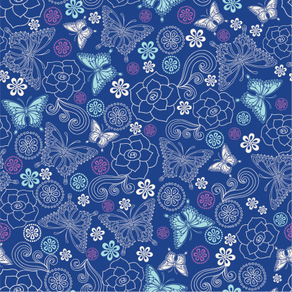 Butterflies Roses Seamless Repeat Pattern Vector Stock Illustration - Download Image Now