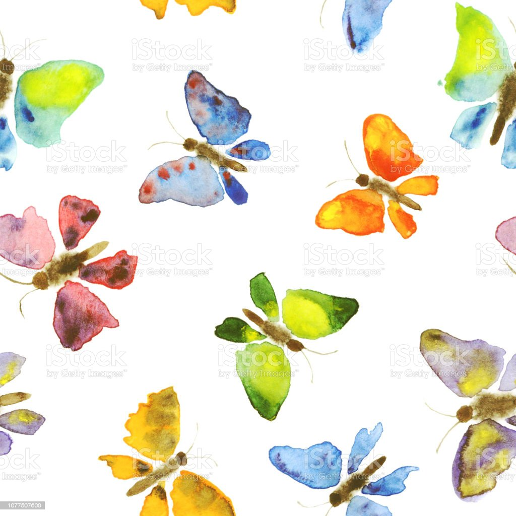 Butterflies Watercolor Seamless Pattern Hand Drawing On White Background Hand Painting Colorful Texture Summer Or Spring Stock Illustration Download