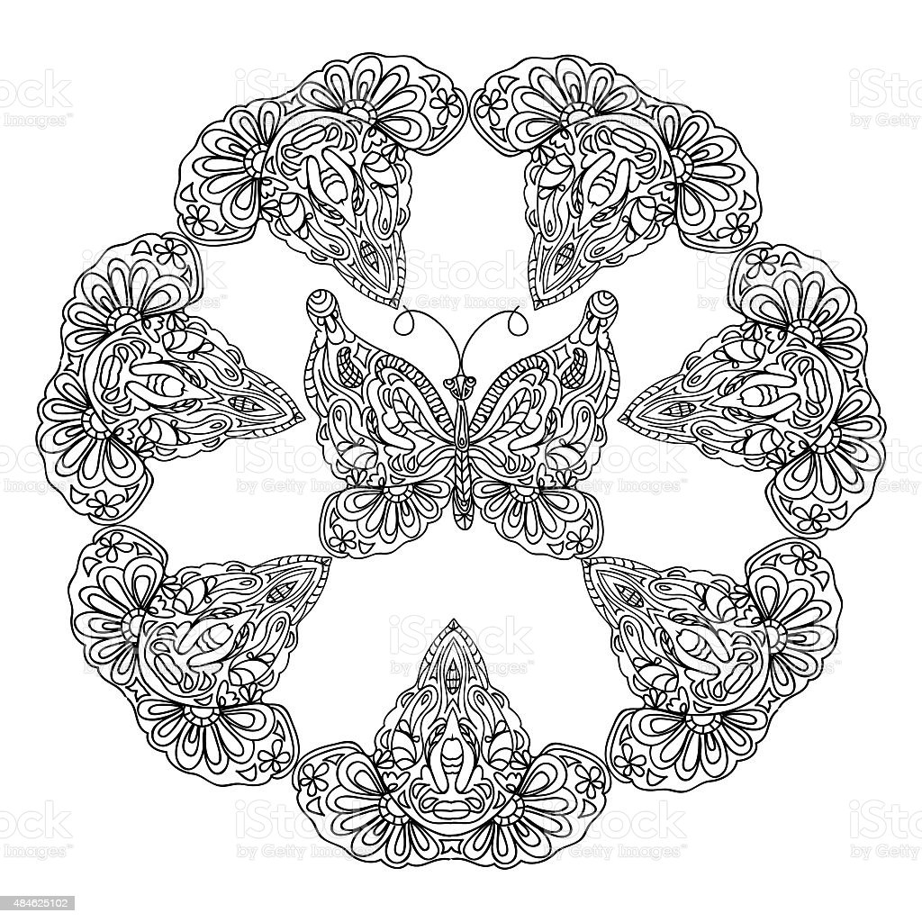 Butterfly Frame Coloring Page Stock Vector Art & More ...