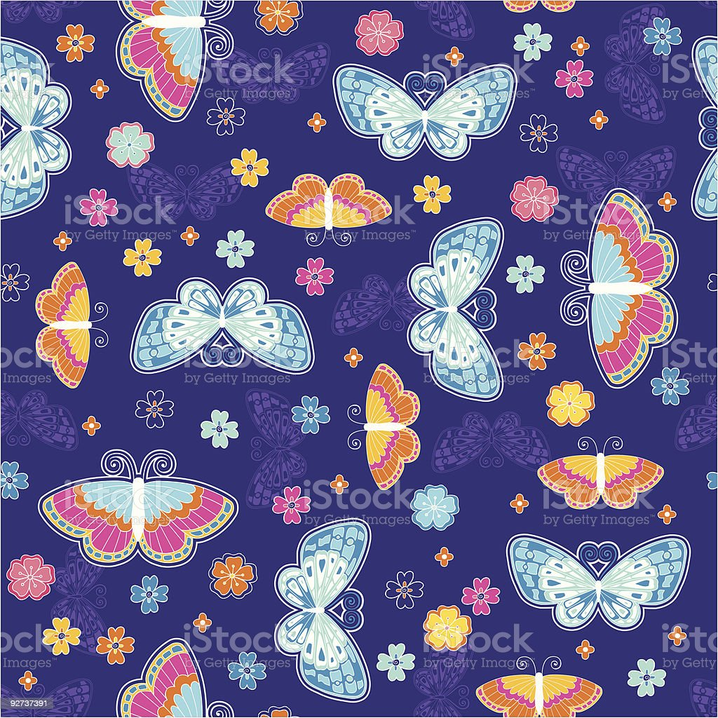 Butterfly Seamless Repeat Pattern Vector - Royalty-free Art stock vector