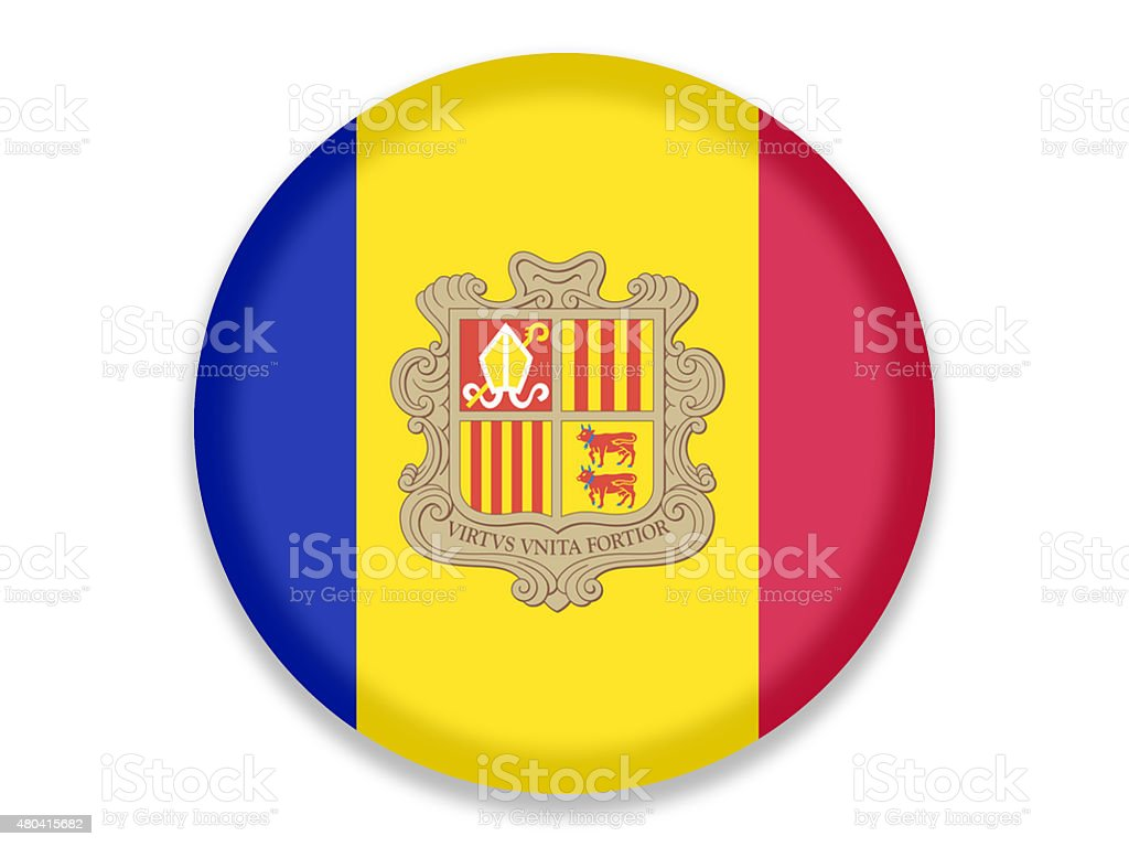 Button National Flag of Andorra vector art illustration
