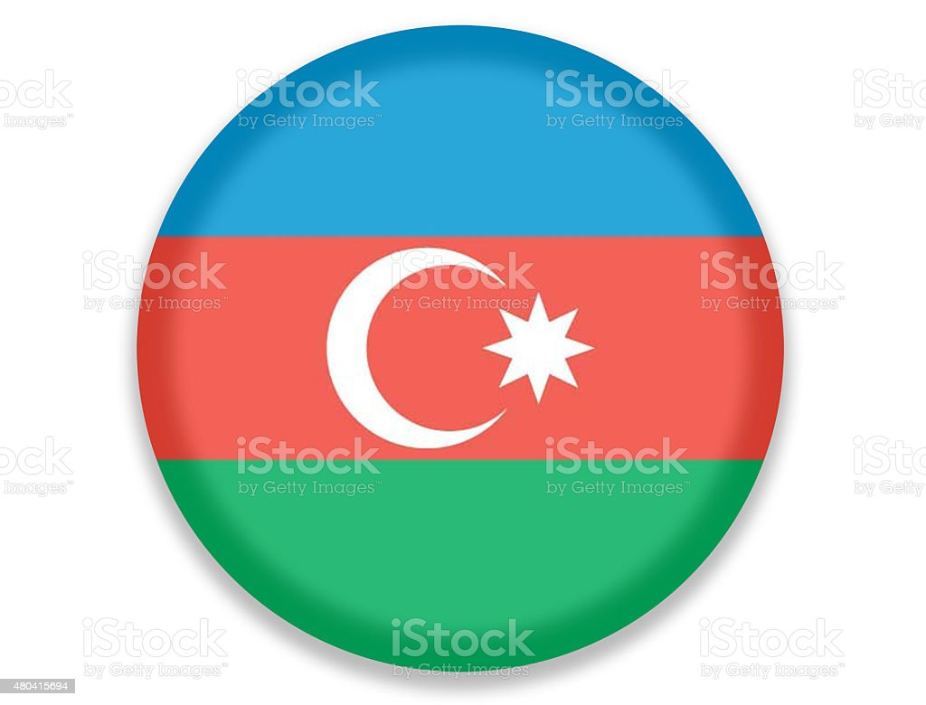 Button National Flag of Azerbaijan vector art illustration
