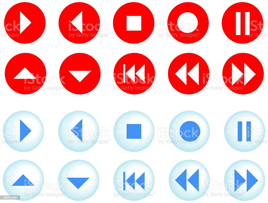Buttons, icons for playback, player - vector royalty-free buttons icons for playback player vector stock vector art & more images of color image