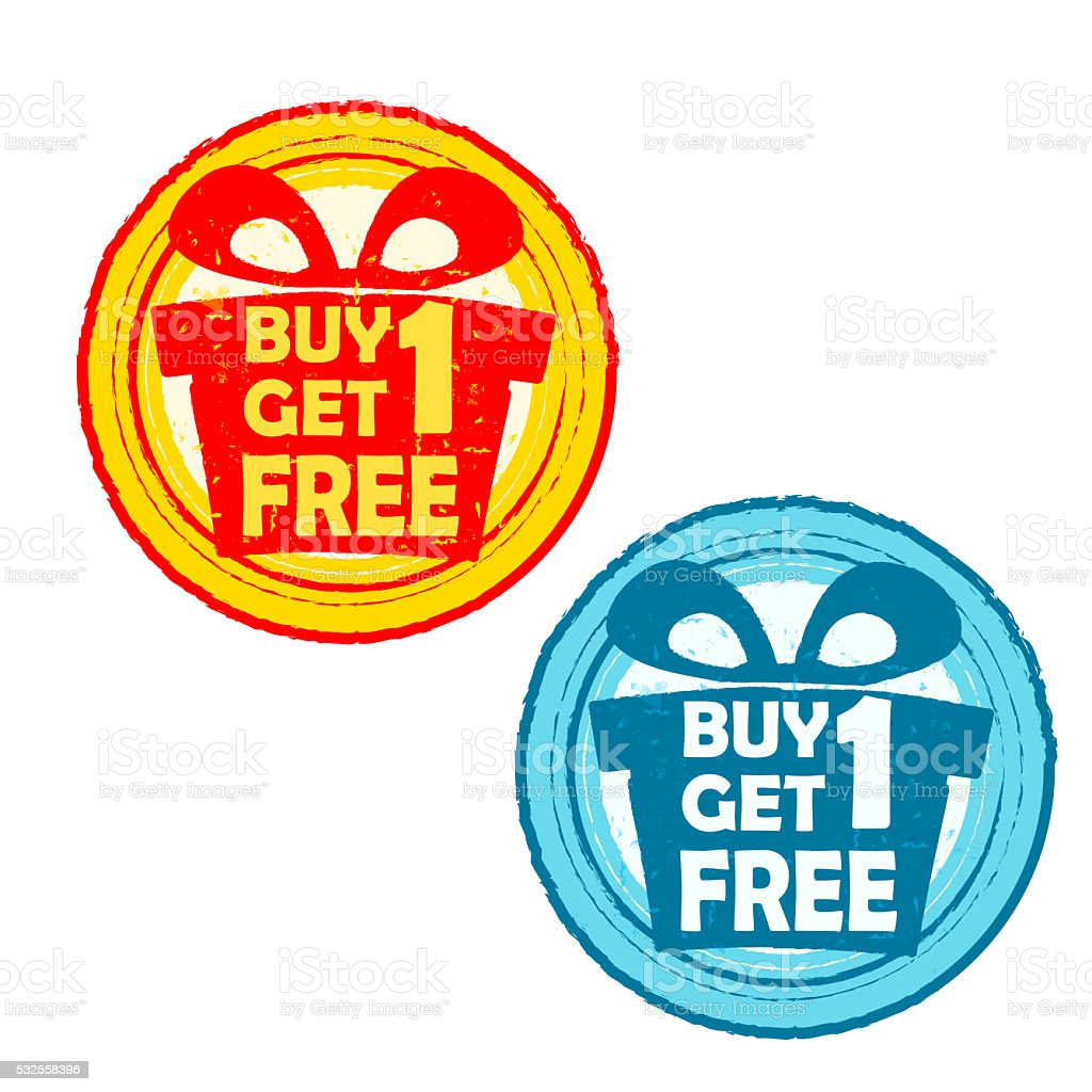 buy one get one free with gift signs, drawn labels vector art illustration