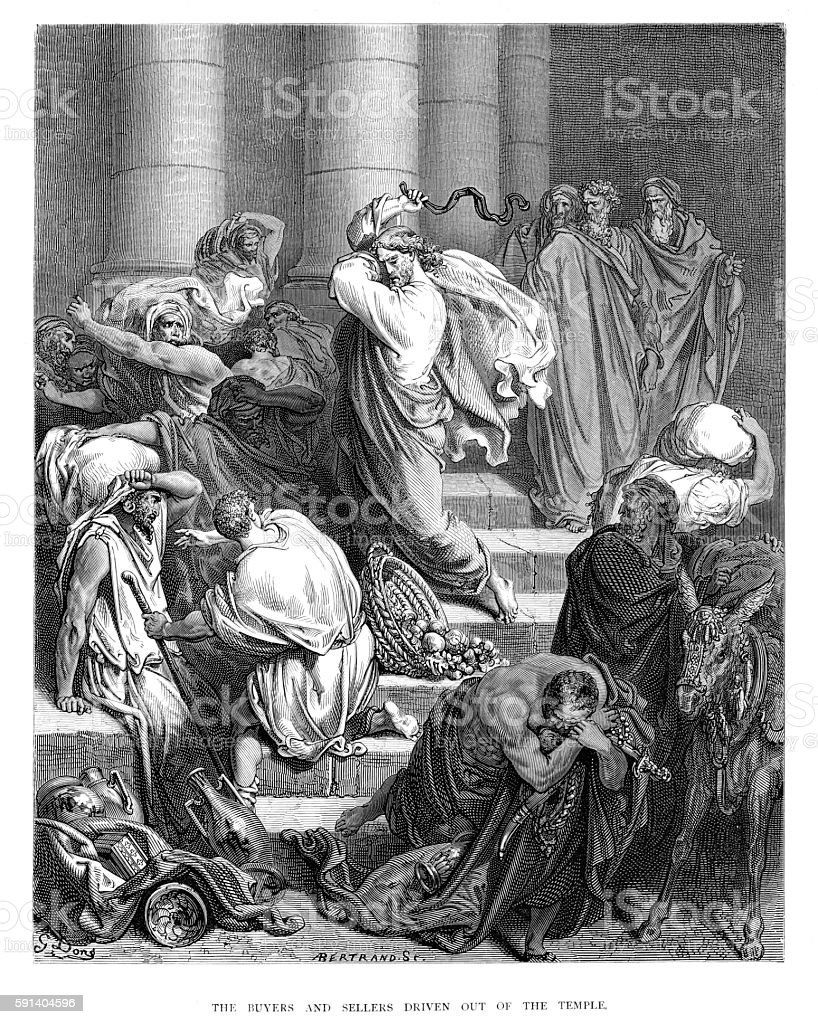 Buyers and sellers driven out of the temple 1870 vector art illustration