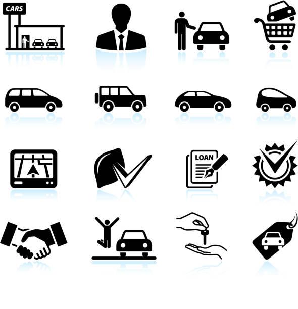 Buying new Car at dealership black & white icon set Buying new Car at dealership black & white icon set car salesperson stock illustrations