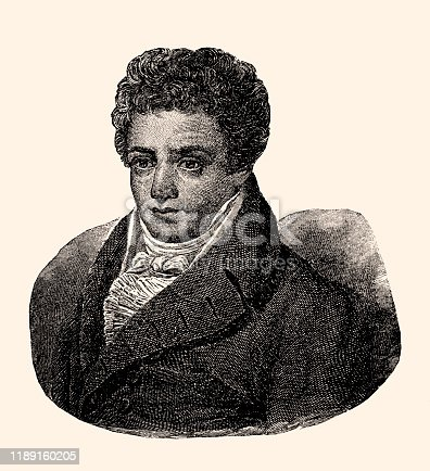 Robert Fulton (1765-1815) was an American engineer and inventor. Vintage etching circa late 19th century.