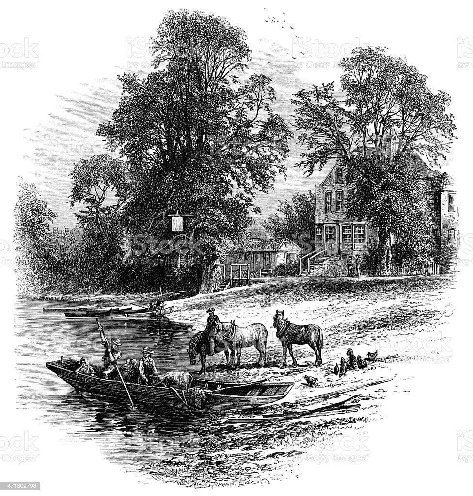 By the River Thames at Runnymede royalty-free by the river thames at runnymede stock vector art & more images of 1870-1879