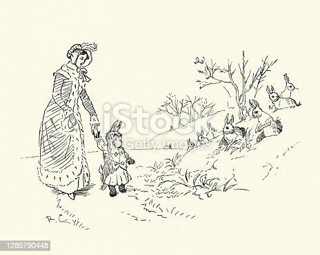 istock Bye, baby Bunting, Nursery Rhyme, In rabbit skin 1285790448