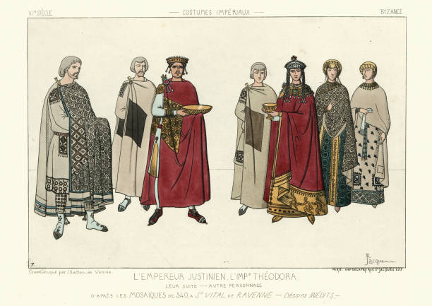 Byzantine Emperor Justinian I and Empress Theodora vector art illustration