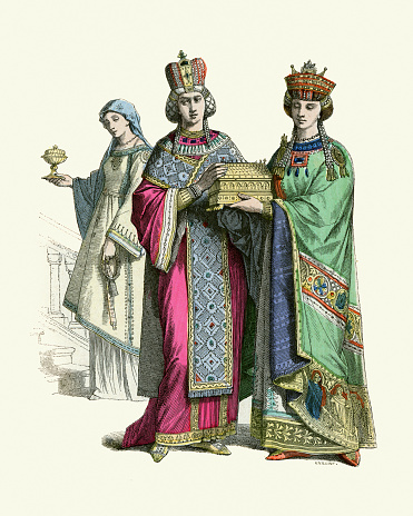 Byzantine Empress and Princess, with servant woman, History of Fashion